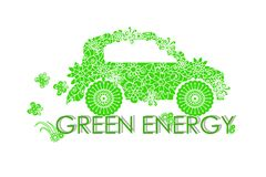 Typography banner Green energy, green stylized flowers doodle car on white Stock Image
