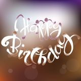 Typography banner Happy birthday. Hand drawing lettering on blurred background, vector Stock Images