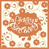 Typography banner Happy Birthday. White lettering on red floral background, hand drawn, vector. Illustration Royalty Free Stock Image