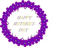 Typography banner Happy Mother's day. Purple wreath and lettering on a white background violets flowers. Vector Stock Images