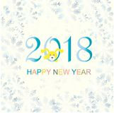 Typography banner Happy New Year. Blue snowflakes frame, yellow funny cute dog watercolor effect on white Stock Photo