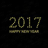 Typography banner 2017 Happy New Year, yellow on black. Vector illustration Royalty Free Stock Images