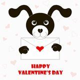 Typography banner Happy Valentine`s day, black and white cartoons dog with envelope, red hearts Stock Image