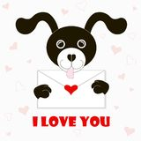 Typography banner I love you, black and white cartoons dog with envelope, red hearts Stock Photos