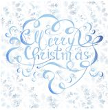 Typography banner with lettering Merry Christmas on blue snowflakes background. Watercolor effect on white stock vector illustration Royalty Free Stock Photos