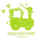 Typography banner Organic food, 100% eco, save nature, green stylized flowers doodle tractor on white,. Stock vector illustration stock illustration