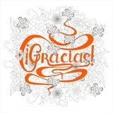Typography banner pink Gracias, means thanks in spain language, swirls hand drawn lettering Royalty Free Stock Images