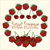 Typography banner Sweet Summer. Strawberries chaplet, cherries on light background Stock Photo