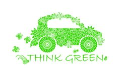 Typography banner Think green, green stylized flowers doodle car on white Royalty Free Stock Images