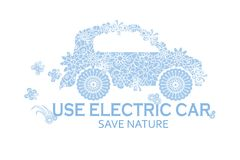 Typography banner Use electric car, save nature, blue stylized flowers doodle car on white Royalty Free Stock Photography