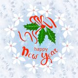 Typography banner white lettering Happy New Year. Blue snowflakes frame, holly wreath. Red fruits and green leafs holly cute watercolor effect on white stock stock illustration