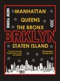 New york, manhattan, the bronx, staten island, brooklyn , vectors Stock Photography