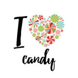 Typography card with text I love candy. Heart shape made on sweets. Stock Photos
