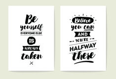 Typography cards set. Stock Photography