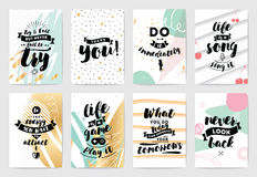 Typography cards set. Royalty Free Stock Photos