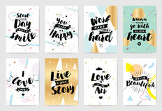Typography cards set. Royalty Free Stock Photo