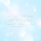 Typography for christmas and 2015 new year. Holidays banner design. Vector festive abstract background with bokeh and lens flare Royalty Free Stock Photography