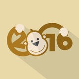 2016 Typography With Cute Monkey. Vector Illustration Vector Illustration