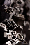 Typography da pia batismal do metal Fotografia de Stock