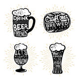 Typography design of beers. Texts in different beer themed objects. Mug, cask barrel, glass Stock Images