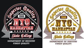 College Nyc manhattan, vectors. College superior quality nyc manhattan , For Emblem, T shirt graphic, vectors royalty free illustration