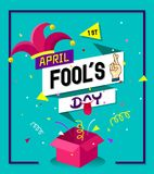 Typography design on origami speech buble with jester hat,fingers crossed-April fool's day background design concept. Vector Illustration Royalty Free Stock Photos