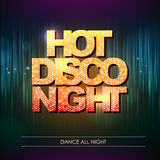 Typography Disco background. Hot disco night Royalty Free Stock Photos