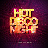 Typography Disco background. Hot disco night Stock Image