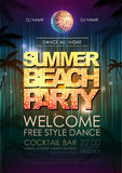 Typography Disco background. Summer beach party Stock Images