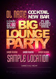 Typography Disco poster big lounge party. Typography Disco background. Disco poster big lounge party Stock Photo