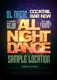Typography Disco poster dance all night Royalty Free Stock Photo