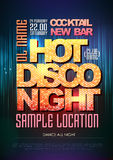 Typography  Disco poster hot night Royalty Free Stock Images