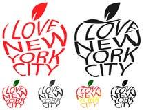 Typography envelope distort vector text I love New York city in Big Apple symbol sign shape. Distorted text I love NYC. T shirt. Typography envelope distort Stock Images
