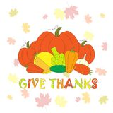 Typography flat design banner Give thanks for Thanksgiving day with vegetables   Royalty Free Stock Image