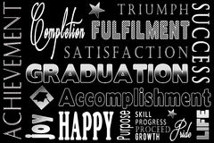 Typography Graduation Background. Graduation background with typography art using descriptive words in regard to graduating Stock Photography