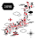 Typography Illustration. Cartoon Maps of Japan for child. Vector Royalty Free Stock Images