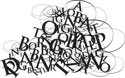 Typography jumble. A jumble of letters and swirls, ideal for a double page spread or front and back cover Stock Images