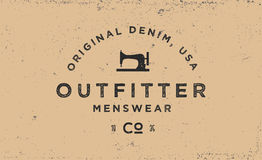 Typography label for apparel company, logotype in vintage style. T-shirt print in retro 1970s style Stock Illustration