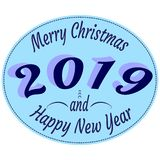 Typography labels in retro style with text - Happy 2019 New Year and Merry Christmas - in blue colors. vector illustration
