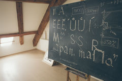 Typography lesson with blackboard with handwritten chalk letters Stock Photos
