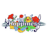 Typography lettering with flower elements on the background. Word Happiness royalty free illustration