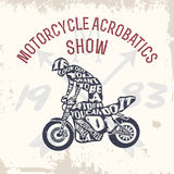 Typography lettering motorcyclist Stock Images