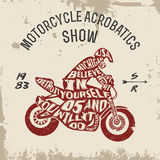 Typography lettering motorcyclist Stock Image