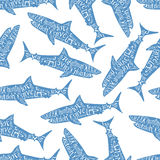 Typography lettering shark pattern Royalty Free Stock Image