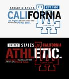 Typography Los Angeles California athletics, t-shirt graphic vector. Typography design Los Angeles California athletics, t-shirt graphic background white and stock illustration