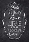 Typography - Love - Happiness - Chalkboard Royalty Free Stock Image