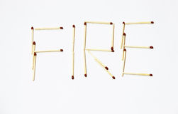Typography matches. The word fire made from matches. Matches can make fire stock photos