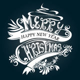 Typography Merry Christmas White Design Symbol Stock Images