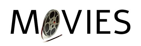 Typography Movies Reel. The word movies is spelled utilizing a 8mm film reel vector illustration