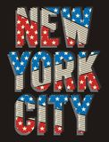 Retro New York City, vectors. Retro New York City america flag, screen printing  easy on color separation, t shirt , poster festival Royalty Free Stock Photo